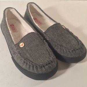 Roxy Piccolo Gray sherpa lined slipper loafers